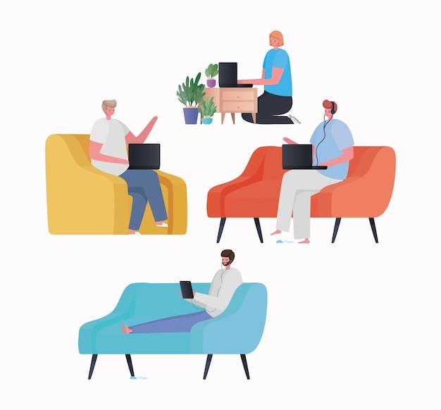 ノートパソコンとタブレットの椅子のソファと家のテーマからの仕事の家具デザインに取り組んでいる女性と男性のセット