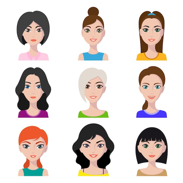 女性アバター、さまざまな髪型と顔の形の若い女の子の肖像画のセット