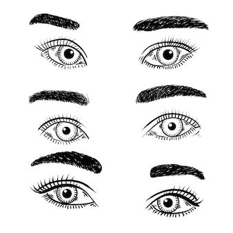 Набор иллюстраций глаза женщины 2