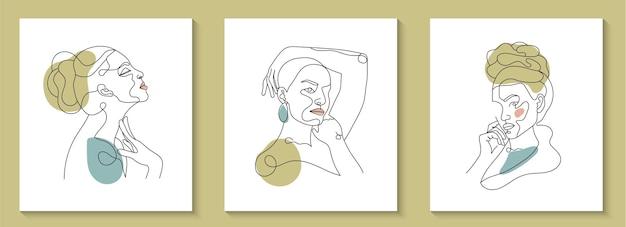 Набор женского лица минимальная рука нарисованные линии арт портрет