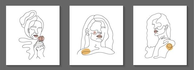 여자 얼굴 최소한의 손으로 그린 라인 아트 초상화의 집합