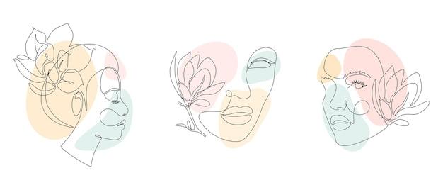 Набор женских лиц и цветов в одном стиле рисования линии.