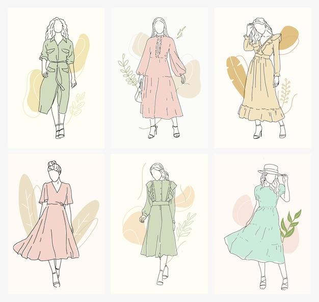 여자 패션 평면 디자인 ilustration의 세트