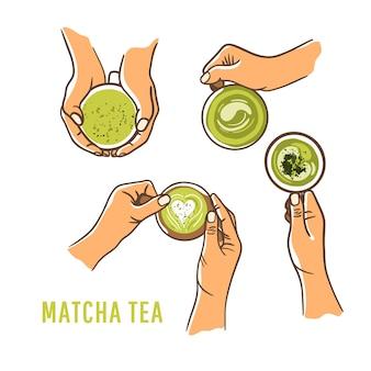 Набор женщина руки, держа чашку зеленый матч белый фон. вид сверху, плоская планировка. концепция безмолочного питания