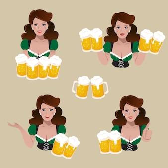 Набор женщина, держащая бокалов пива с разных позах.