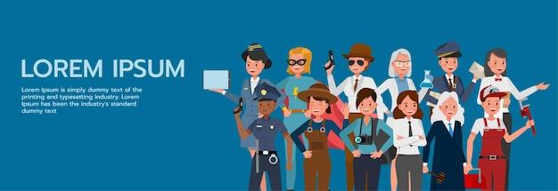 여성 사람들의 집합은 파란색 배경 문자 벡터 디자인에 대해 다른 직업과 직업을 그룹화합니다. 노동절.