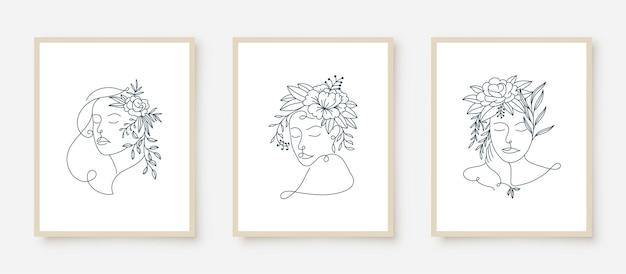 여자 초상화 라인 아트 꽃 프레임 세트