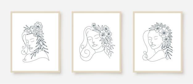 女性の肖像画のラインアート花フレームのセット