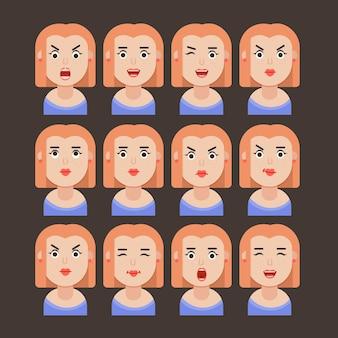 Набор женских эмоций. выражение лица. девушка аватар, иллюстрация в плоском дизайне, векторный формат