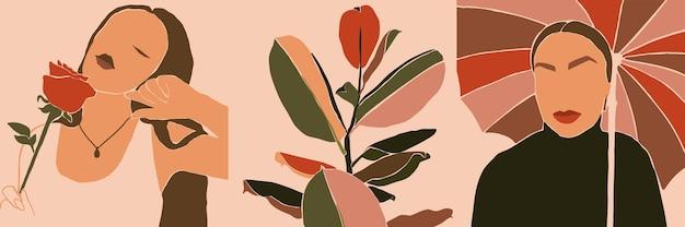 女性の顔のミニマリストアートのセット。現代のトレンディなスタイルの抽象的な現代的なコラージュファッションの女性と植物。女性のベクトルの肖像画。ビューティーコンセプト、tシャツプリント、ポストカード、ポスター