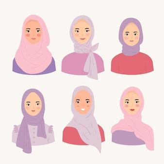 히잡 유행 스타일을 착용하는 여성 세트