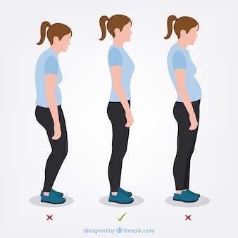 Set of woman with correct and incorrect posture