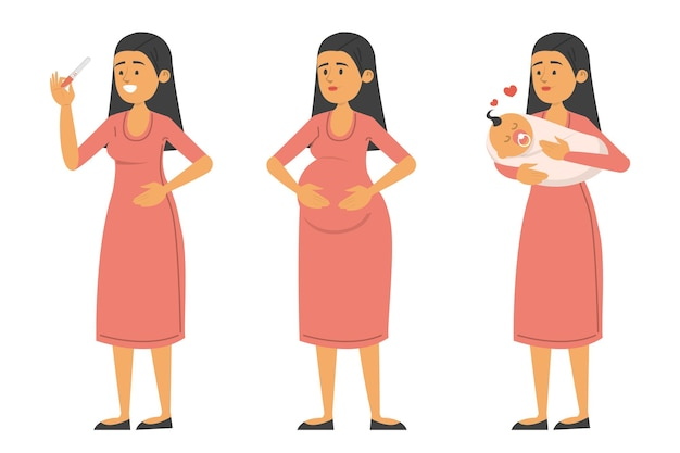 Набор женщины с положительным тестом, во время беременности и с ребенком