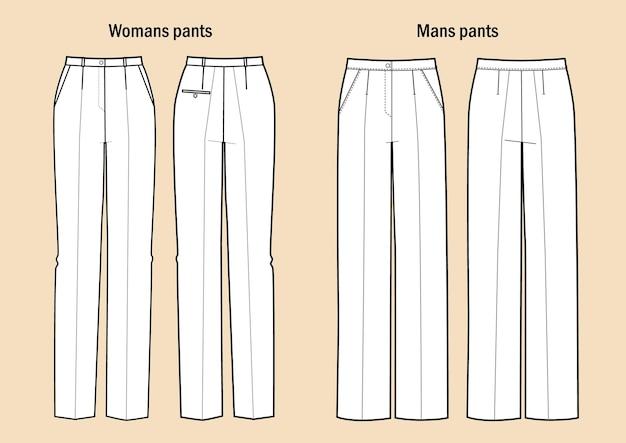 Комплект женских и мужских классических брюк. плоские брюки шаблон одежды спереди и сзади.