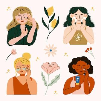 美容液、クレンジングフォーム、アイパッチ、日焼け止めフェイススキンケア製品を自宅で使用する女性のセット日常のイラスト