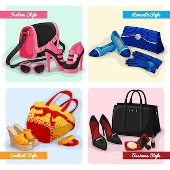 女性のバッグ、靴、アクセサリーのセット