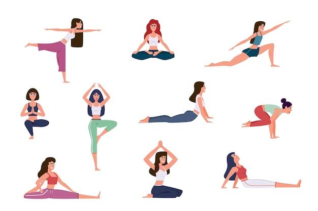 Набор женщин, делающих упражнения йоги, изолированные на белом