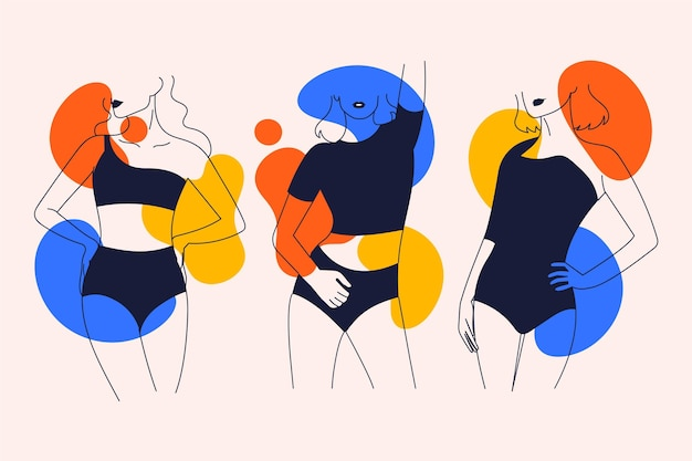 エレガントなラインアートスタイルの女性のセット
