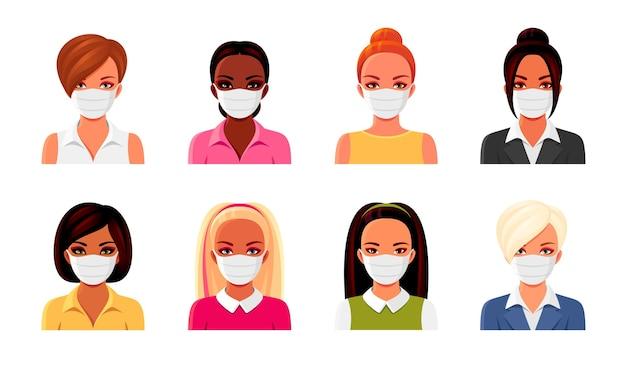 さまざまな髪型の医療マスクの女性のセット