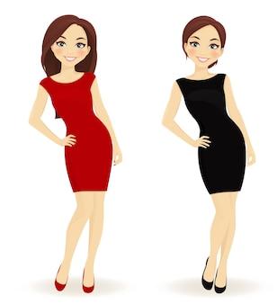 Набор женщин в красных и черных платьях