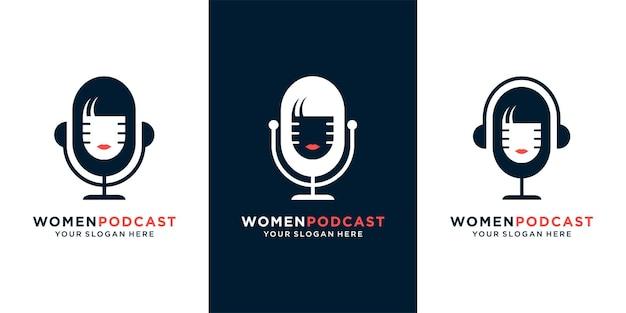 女性のポッドキャストロゴデザインコンセプトプレミアムベクトルのセット
