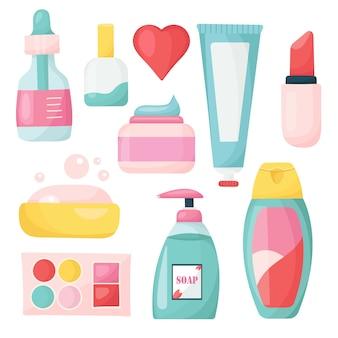 女性の化粧品と美容製品のセット。
