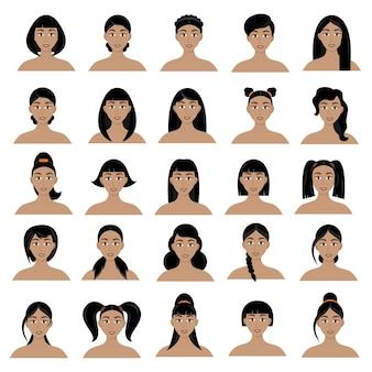 Набор женских причесок. красивые молодые девушки брюнетки с разными прическами, изолированные на белом фоне.