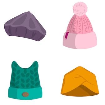 Набор женских головных уборов. зимняя одежда в мультяшном стиле.