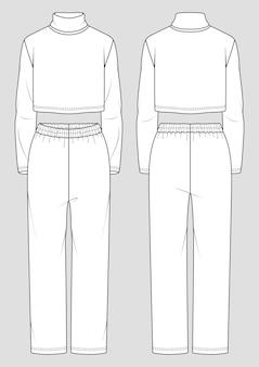 Набор женской домашней одежды. эскиз моды. укороченная водолазка и прямые брюки.
