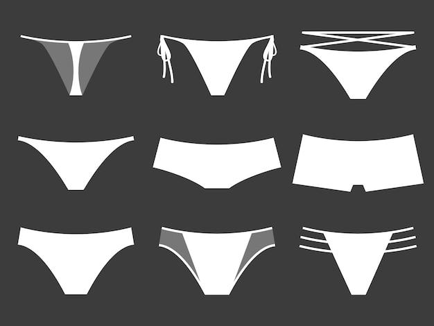 Комплект женского нижнего белья на черном фоне. плоский стиль. векторная иллюстрация.