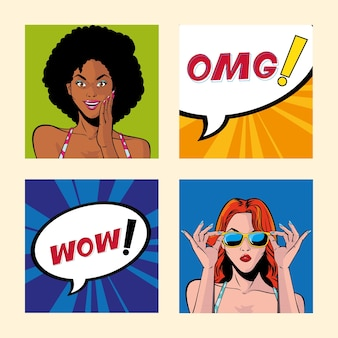 Набор женщин с речи пузырь, дизайн иллюстрации стиля поп-арт