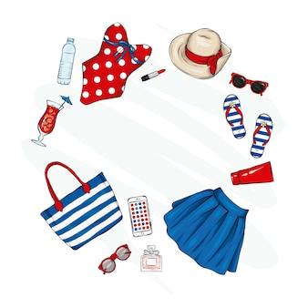 Набор женской стильной летней одежды и аксессуаров