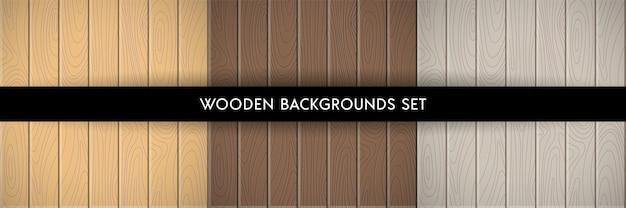ウッドテクスチャ背景のセットです。手描きの木製ボード、ダーク、ライトブラウン、グレーの色が含まれています。デザイン、フラットinterioursのイラスト自然テンプレート