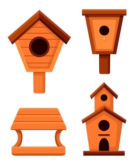 나무 새집의 집합입니다. 중첩 상자 스타일. 새를위한 수제 건물, 수제 개체. 흰색 배경에 그림