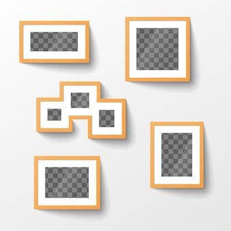 Набор деревянных пустых рамок с прозрачным местом для фото в разных пропорциях