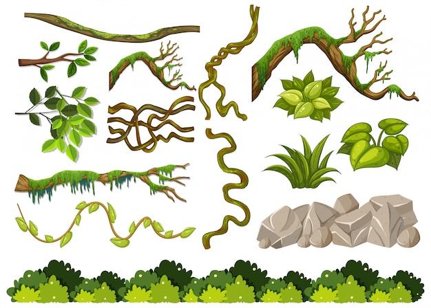 Набор деревянных ветвей и скал на белом фоне