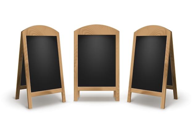 木製の空の空白の広告のセット