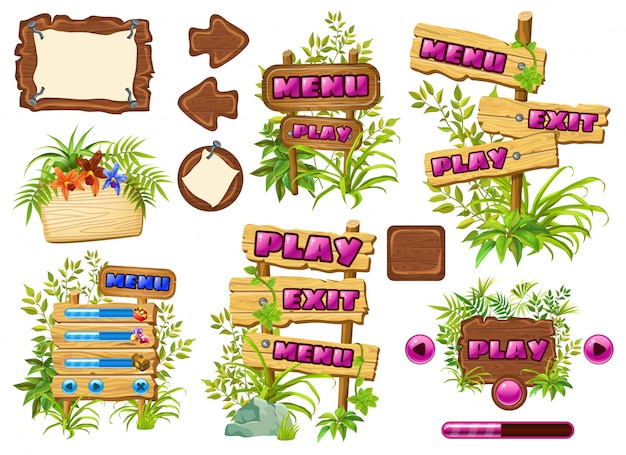 Набор деревянных игровых панелей с листьями лианы.