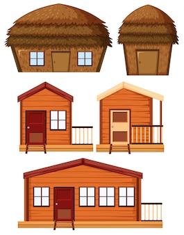 Набор деревянных домов