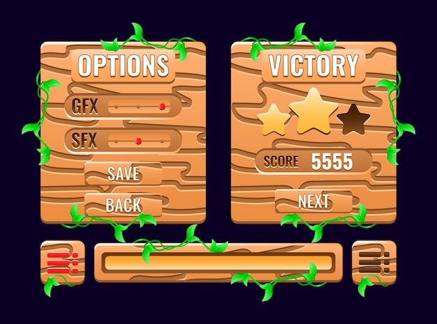 Набор опций пользовательского интерфейса игры с деревянной природой, всплывающее окно с полной доской уровня и значок индикатора выполнения для элементов графического интерфейса