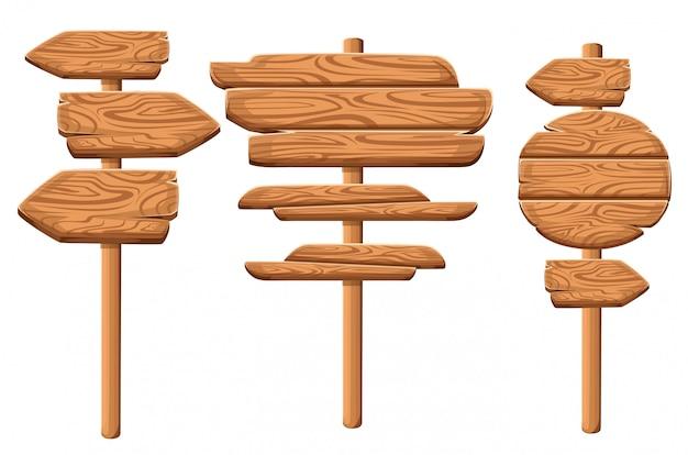 Набор деревянных бляшек в мультяшном стиле. коллекции деревянных бляшек. набор деревянных знак старые дорожные доски. на белом фоне.