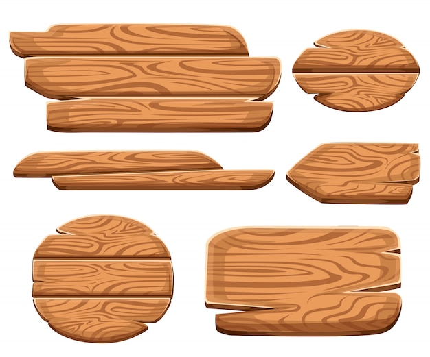 Набор деревянных бляшек в мультяшном стиле. коллекции деревянных вывесок. набор деревянных знак старые дорожные доски. на белом фоне.