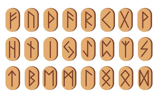 Набор деревянных рун. векторная иллюстрация