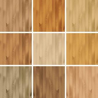 木製のシームレスなテクスチャパターン背景のセット