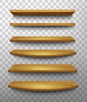 Набор деревянных полок на прозрачном фоне. вектор.