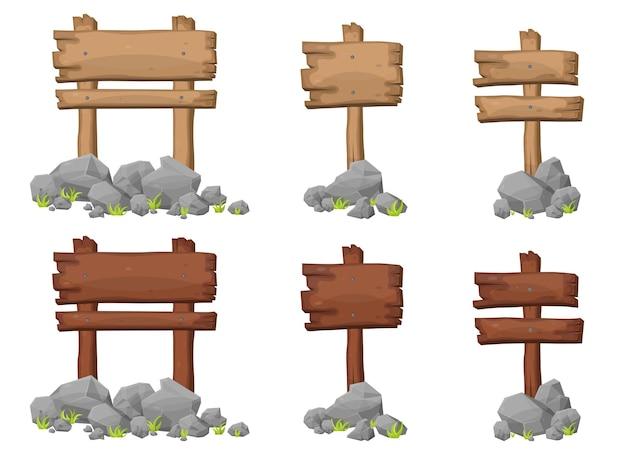 漫画風の岩と岩と木製看板のセット