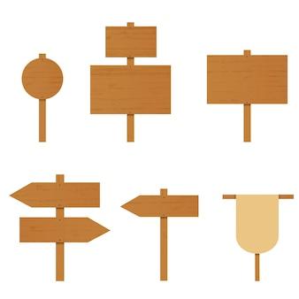 Набор деревянных знаков. фанерная доска. стрелка направления на дороге. место для рекламы. сельский дорожный знак. указатель деревянной стрелки. векторная иллюстрация.