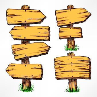 나무 간판 세트