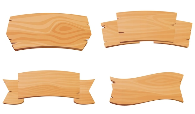 Набор деревянных столов знаков указателей баннеры для баров и салонов старые указатели из дерева вектор иллю ...