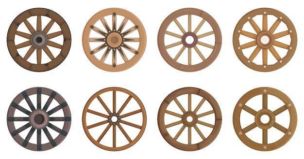 흰색 절연 나무 바퀴 세트